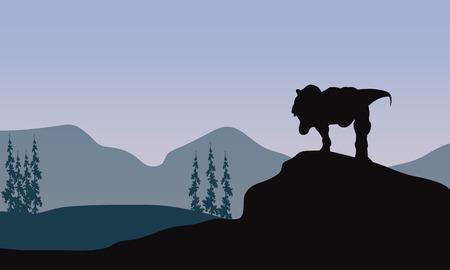 tyrannosaur: Silhouette of one tyrannosaurus in the hills Illustration