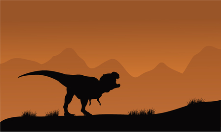 brown backgrounds: Silhouette of T-Rex in the fields with brown backgrounds Illustration