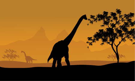 over the hill: beautiful sunrise and the silhouettes of dinosaurs Illustration
