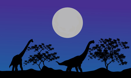 over the hill: Silhouette of brachiosaurus at the night with blue backgrounds Illustration