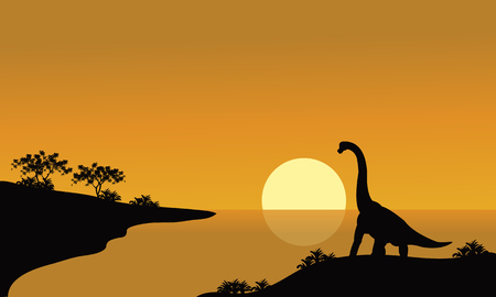 riverbank: silhouette of brachiosaurus in river with brown backgrounds