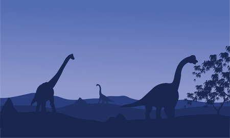 over the hill: Silhouette of brachiosaurus with blue backgrounds in hills Illustration