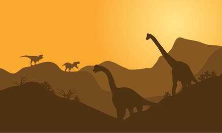 over the hill: silhouette of brachiosaurus in hills with brown backgrounds