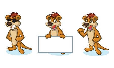 mongoose: Brown Meerkat Mascot happy, pose and bring board