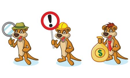 meerkat: Brown Meerkat Mascot with money, sign and magnifying