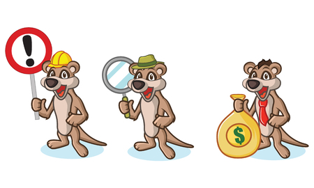 mongoose: Tan Meerkat Mascot with money, laptop and magnifying Illustration