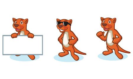 meerkat: Brown Mustela Mascot happy, pose and bring board