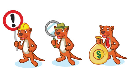 mongoose: Brown Mustela Mascot with money, sign and magnifying