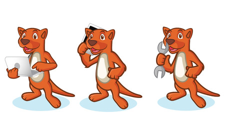 mongoose: Brown Mustela Mascot with laptop, phone and tools