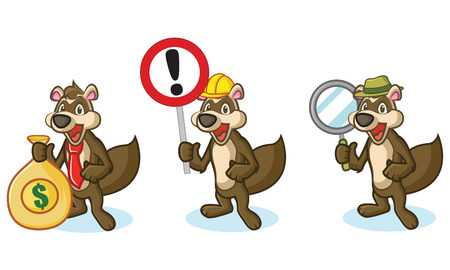 woollen: Brown Polecat Mascot with sign, money and magnifying Illustration