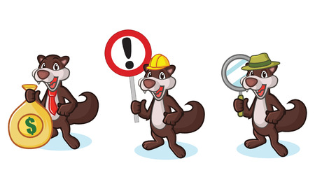 woollen: Dark Brown Polecat Mascot with sign, money and magnifying