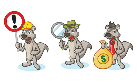 woollen: Gray Polecat Mascot with sign, money and magnifying