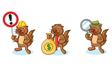 otter: Brown Sea Otter Mascot with money, sign and magnifying
