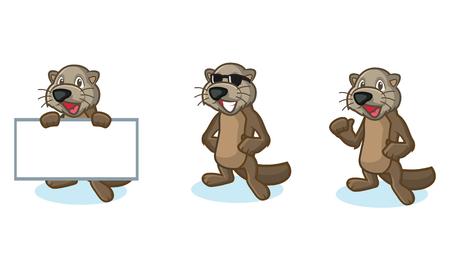 otter: Dark Brown Sea Otter Mascot happy, pose and bring board