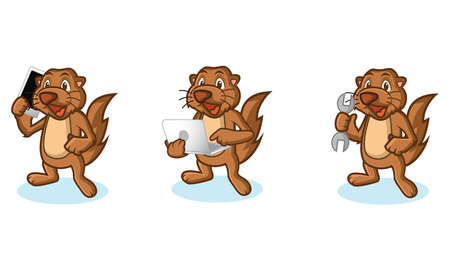 laptop mascot: Brown Sea Otter Mascot with tools, laptop, phone Illustration
