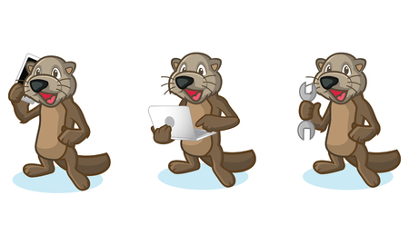 otter: Dark Brown Sea Otter Mascot with laptop, phone and tools Illustration
