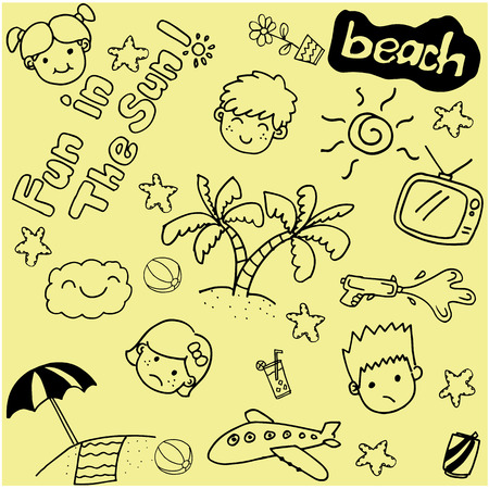 sunglasses recreation: Summer beach doodle art with yellow backgrounds