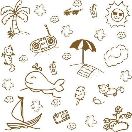 Set beach doodle art with white backgrounds