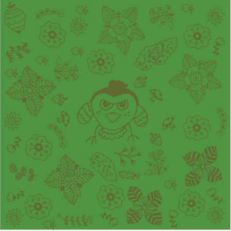 Green backgrounds flowers doodle art and birds