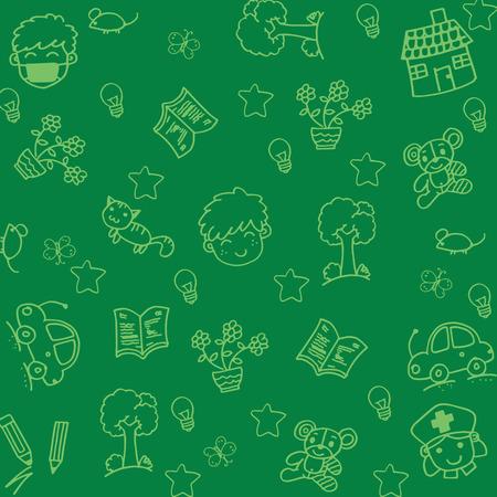 Set Gekritzelkunst für Kinder mit grünem Hintergrund Standard-Bild - 56794969