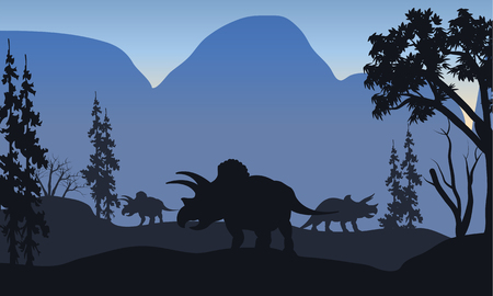 triceratops: triceratops of silhouette in hills with blue backgrounds Illustration