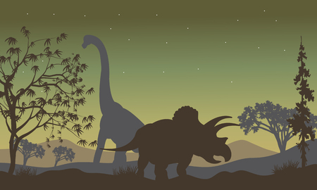 triceratops: triceratops and Brachiosaurus silhouette in the hills Illustration