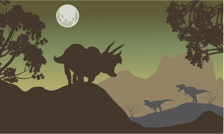 triceratops: Silhouette of triceratops and baby T-Rex at the night Illustration
