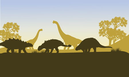 behemoth: Ankylosaurus silhouette of scenery in the forest Illustration
