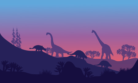 Silhouette of Brachiosaurus and Ankylosaurus at the morning