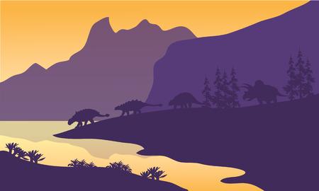 behemoth: Ankylosaurus family of silhouette in the lake