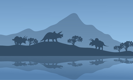 Silhouette of triceratops in the riverbank with blue backgrounds Illustration