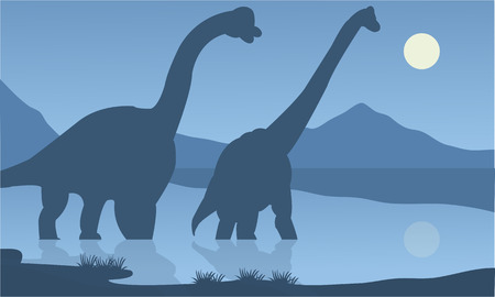 black giant mountain: Silhouette of brachiosaurus lake with blue backgrounds Illustration