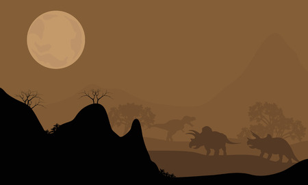 triceratops: Silhouette of triceratops with moon at night with brown backgrounds