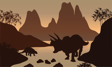 behemoth: Silhouette of ankylosaurus in river with brown backgrounds