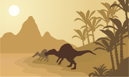 spinosaurus: Spinosaurus in river silhouette scenery with brown backgrounds