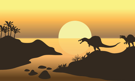 riverbank: Silhouette of spinosaurus in riverbank at the afternoon Illustration