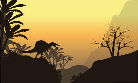 triassic: Silhouette of one spinosaurus in hills at the sunset