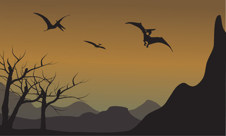 pterodactyl: Pterodactyl silhouette in mountain at the afternoon