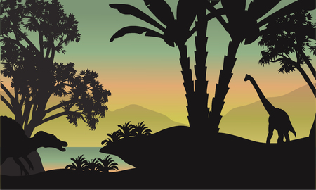 black giant mountain: Silhouette of brachiosaurus in park a beautiful scenery