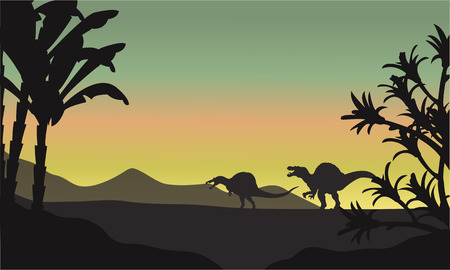 triassic: spinosaurus at morning scenery a very beautiful