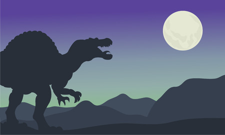 triassic: Silhouette of spinosaurus at the night in hills