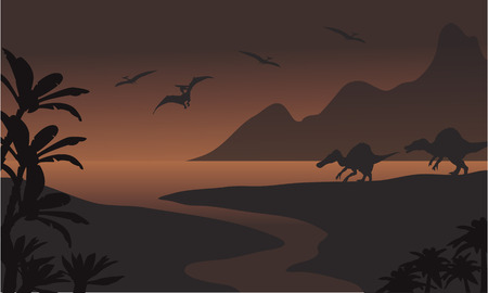 pterodactyl: Silhouette of spinosaurus in riverbank and pterodactyl with brown backgrounds Illustration