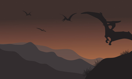 pterodactyl: Silhouette of pterodactyl fly at the night with brown backgrounds