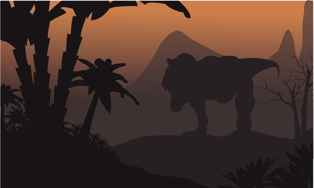 tyrannosaur: Silhouette of big T-Rex in hills at the night Illustration