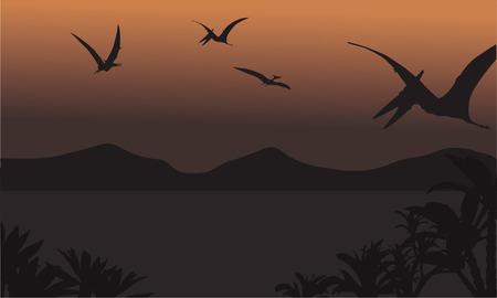 Pterodactyl: pterodactyl fly at the night scenery with brown backgrounds Illustration