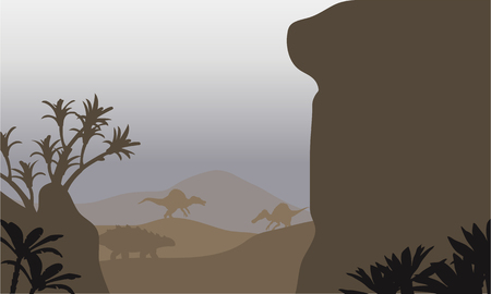 ankylosaurus: Silhouette of ankylosaurus and spinosaurus in hills with brown backgrounds