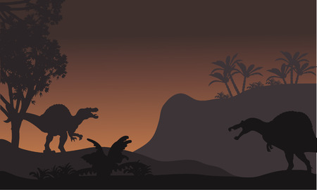 triassic: spinosaurus in forest at night scenery with brown backgrounds