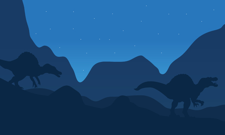 spinosaurus: Landscape spinosaurus at the night with blue backgrounds