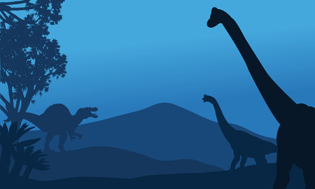 eater: Silhouette of brachiosaurus and spinosaurus at the night