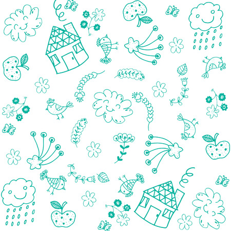 aple: Doodle art for kids green Illustration